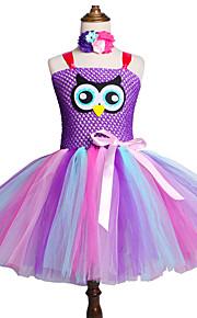 Děti / Toddler Dívčí Sladký / Cute Style Duhová Síťka Bez rukávů Délka ke kolenům Spandex Šaty Světlá růžová