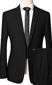 Hombre trajes Solapa Redonda Poliéster Negro XL / XXL / XXXL