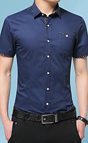 Heren Geborduurd Overhemd Grafisch Marineblauw XXXL