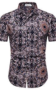 Муж. С принтом Рубашка Цветочный принт / Геометрический принт Светло-коричневый XL