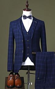 Hombre trajes, A Cuadros Solapa de Pico Poliéster Azul Piscina / Negro / Azul Marino XL / XXL / XXXL