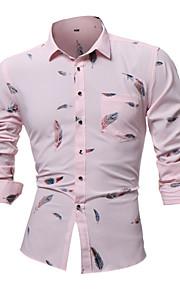Ανδρικά Πουκάμισο Γεωμετρικό Ανθισμένο Ροζ XXL