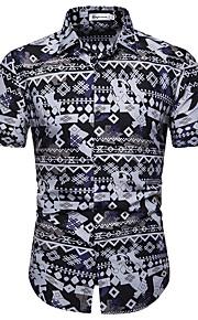 Муж. С принтом Рубашка Цветочный принт Темно синий XL