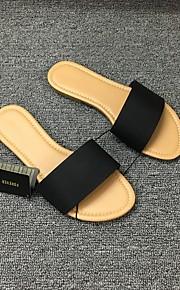 여성용 구두 PU 여름 캐쥬얼 슬리퍼 플립 플롭 플랫 오픈 토에 일상 / 비치 용 블랙 / 옐로우 / 핑크