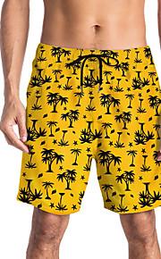 Herre Sporty / Basale Chinos / Shorts Bukser - Blomstret / Tropisk Gul