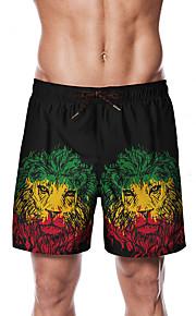 Herre Sporty / Basale Chinos / Shorts Bukser - Multi Farve / 3D Print / Løve Sort