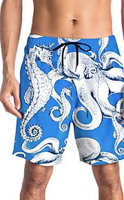 Herre Sporty / Basale Chinos / Shorts Bukser - Trykt mønster / Mønstret / 3D Print Blå