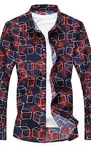 Heren Overhemd Geometrisch blauw XXXXL