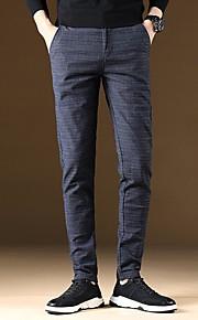 Hombre Básico Chinos Pantalones - Un Color Azul Piscina
