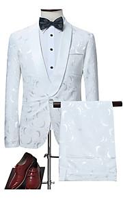 Herrn Anzüge, Geometrisch Hemdkragen Polyester Weiß M / L / XL