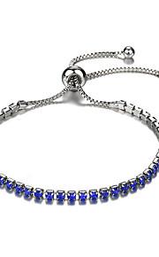 Naisten Synteettinen timantti Yksinauhainen Crystal Rannekoru Rakkaus muodikas Rannekorut Korut Hopea / Vihreä / Sininen Käyttötarkoitus Party Päivittäin