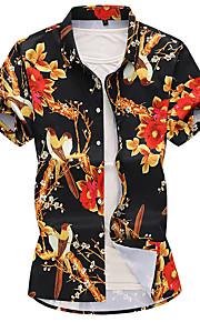 Skjorte Herre - Blomstret Grunnleggende Svart XXXXL