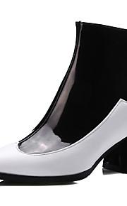 Naisten PU Syystalvi Klassinen / Englantilainen Bootsit Paksu korko Terävä kärkinen Säärisaappaat Musta / Punainen / Musta / valkoinen / Juhlat