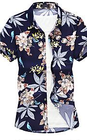 Skjorte Herre - Blomstret Svart XXXXL