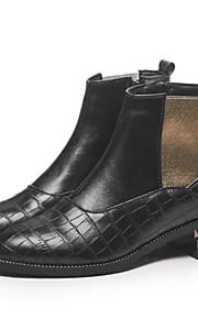Naisten Sexy Bootsit PU Syystalvi Vintage / Englantilainen Bootsit Paksu korko Pyöreä kärkinen Nilkkurit Musta / Sininen / Juhlat