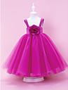 A-line rochie cu bile printesa etaj lungime floare fată rochie - tulle fără mâneci curele de lan ting bride®