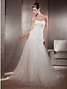 Sheath / Column Sweetheart Chapel Train Organza Wedding Dress with Flower Ruched by LAN TING BRIDE®