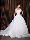 Ball Gown Off-the-shoulder Chapel Train Organza Wedding Dress with Beading Appliques by LAN TING BRIDE®