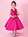 A-line printesa ceai lungime floare fată rochie - taffeta fără mâneci v-gât cu draping de lan ting bride®