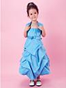A-line rochie de mireasa ceai lungime floare fată rochie - satin fără mâneci spaghete curele cu draping de lan ting bride®