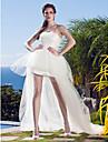 Salon Sin Tirantes Asimetrica Tul Vestidos de novia hechos a medida con Apliques por LAN TING BRIDE® / Vestidos Blancos