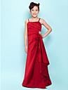 a-line printesa curele spaghete podea lungime satin junior rochie de domnisoara de onoare cu draping de lan ting bride®