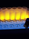 12 jaune pc chaude conduit rechargeables sans flamme des bougies chauffe-plats