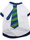 Tee-Shirt Motif Cravate Rayee Bleue et Verte pour Chiens, XS-M - Blanc