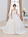 De Baile Decote V Cauda Capela Organza Laco com contas Vestidos de noiva personalizados com Micangas Apliques de LAN TING BRIDE®