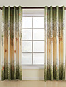 Un Panneau Le traitement de fenetre Rustique, Imprime Feuille Chambre a coucher Polyester Materiel Rideaux Tentures Decoration d\'interieur