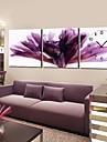moderne ceas floral de perete violet în pânză 3pcs