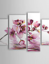 Hand-Painted Floral/Botanical Any Shape Canvas Oil Painting Home Decoration Four Panels