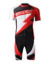 SPAKCT Herr Kortärmad Cykeltröja med shorts - Röd Cykel Shorts Tröja Klädesset, 3D Tablett, Snabb tork, UV-Resistent, Andningsfunktion,