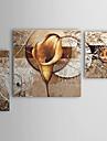 Hang målad oljemålning HANDMÅLAD - Blommig / Botanisk Moderna Tre paneler
