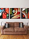 modern abstrakt väggklocka i canvas 3st