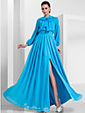 A-Line Princess High Neck Floor Length Chiffon Formal Evening / Military Ball Dress with Beading Bow(s) Draping Split Front by TS Couture®
