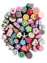 50st 3D Cane Stick Rod klistermärke Nail Art Dekorationer (slumpvis färg)