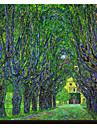 Road mărginită de copaci Conducând la Manor House la Kammer, Austria Superioară, 1912 de Claude Monet Famous întins Canvas Print