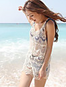 rochie mini, bumbac ocazional alb / dantelă femei