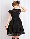 Gothique Lolita Mousseline de soie Femme Robes Cosplay Noir Sans Manches Moyen
