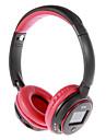 MP3 FM On-Ear Bluetooth hörlurar med mikrofon, TF Card Slot, LCD-skärm (röd, svart)