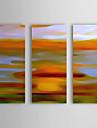 Pictat manual Abstract / Peisaje Abstracte  Trei Panouri Canava Hang-pictate pictură în ulei For Pagina de decorare