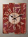 1pc lemn 30.0 * 39.0 * 2.0cm stil de țară kaki ceas de perete casa deraction