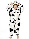 Kigurumi Pijamale Lapte de Vacă Onesie Pijamale Costume Flanel Lână Alb negru Cosplay Pentru Copil Sleepwear Pentru Animale Desen animat