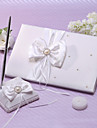 Guest Book Pen Set Satin Garden ThemeWithFaux Pearl Ribbons
