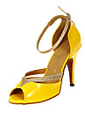 Pentru femei Pantofi Dans Latin / Sală Dans Imitație de Piele Călcâi Toc Personalizat Personalizabili Pantofi de dans Galben
