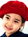 Lână Solid Beret Hat Culoare fete