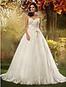 Linha A Princesa Com Alcas Finas Cauda Corte Tule Vestidos de noiva personalizados com Laco Micangas Apliques Faixa / Fita de LAN TING