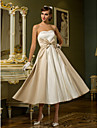 A-Line / Princess Sweetheart Neckline Tea Length Satin Made-To-Measure Wedding Dresses with Bowknot by LAN TING BRIDE®