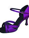 Chaussures de danse(Noir Violet) -Personnalisables-Talon Personnalise-Satin-Latine Spectacle Salsa Salon